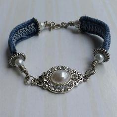 Denim bracelet upcycled jewelry repurposed by RepurposedRelicsTX #CraftShout