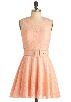 Talk Show Interview Dress - Short, Pink, Lace, Party, A-line, Tank top (2 thick straps), Spring, Belted, Solid, Pastel