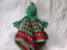 Frog Lovey (Free - Use translation) Crochet Security Blanket, Crochet Lovey, Lovey Blanket, Crochet Amigurumi, Crochet Bunny, Baby Blanket Crochet, Crochet For Kids, Amigurumi Doll, Crochet Toys