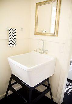 The Completed Laundry Room Add A Bathroom, Laundry Room Bathroom, Basement Bathroom, Utility Sink, Home Improvement, Bathtub, Organization, Grande, Room Ideas