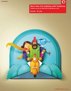 Paper perfect Indian characters - Vodafone by Nasheet Shadani, via Behance