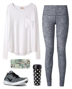 Comfy by classygrace ❤️ liked on Polyvore featuring Organic by John Patrick, NIKE, lululemon, Kate Spade, Casetify and gracesfavorites