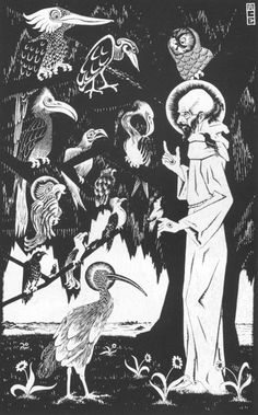 M.C. Escher St. Francis Preaching to the Birds, 1922 woodcut