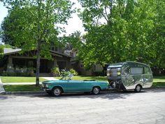 1965 DETHLEFFS BEDUIN towed by 1968 BMW 1600 Cabriolet