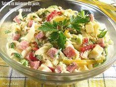 Satata-cu-maioneza-din-paste-sunca-si-cascaval-3-1 Cold Vegetable Salads, Gluten Free Recipes, Healthy Recipes, Healthy Food, Romanian Food, Cafe Food, 30 Minute Meals, Food Design, Meal Planning