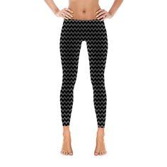 black and gray chevron leggings, chevron leggings, yoga pants, barre leggings
