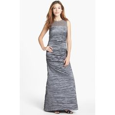 $158.00 Alex Evenings Illusion Yoke Taffeta Gown