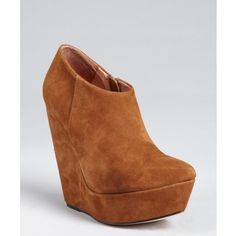 Madison Harding Almond Suede Pointed Toe Platform Wedge 'Adrian'... ($125) ❤ liked on Polyvore