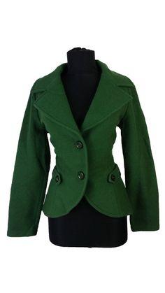 Womens Piu  amp  Piu Jacket size 12 14 Green Coat Wool Casual 38DE 44IT Hip 424b8676495