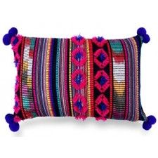 Oluchi Pillow, Indigo made with woven yarn & pom-pom at all four corners. Buy Wholesale Cushions with new designs & colors at Casa Amarosa. Boho Style Decor, Wholesale Home Decor, Ethnic Print, Modern Area Rugs, Designer Throw Pillows, Lumbar Pillow, Fabric Design, Decorative Pillows, Indigo