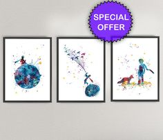 THE LITTLE PRINCE Watercolor Art Print Pack Nº2- Le Petit Prince Nursery Ink Colorful Vintage Painting illustrations Print Wall Art