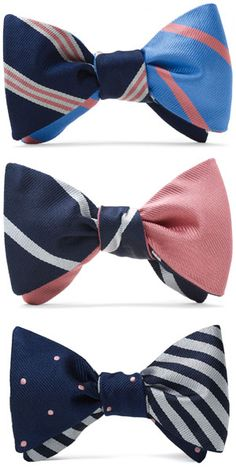 The Social Primer Reversible Bow Tie: Repp Dot and Satin BB#2 Repp Stripe by Brooks Brothers.