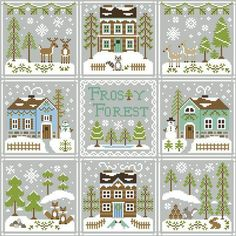 Country Cottage Needleworks ~ Frosty Forest – Down Sunshine Lane Cross Stitch House, Xmas Cross Stitch, Cross Stitch Needles, Cross Stitch Samplers, Cross Stitch Kits, Cross Stitch Charts, Cross Stitch Designs, Cross Stitching, Cross Stitch Embroidery