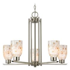 Chandelier with Mosaic Glass in Satin Nickel Finish - 5-Lights | 1120-1-09 GL1026D | Destination Lighting