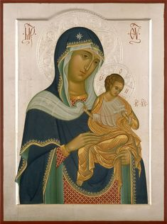 Icon of Our Lady of Konevskaya by Yuri Fedorov 2007 Byzantine Art, Byzantine Icons, Religious Icons, Religious Art, Christian Artwork, Russian Icons, Blessed Mother Mary, Madonna And Child, I Icon