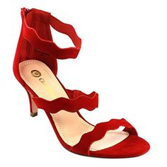 Chase & Chloe EC38 Women's Kitten Heel Dress Sandals Packed With a Anklet, Color:RED, Size:5.5 - Brought to you by Avarsha.com