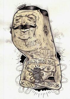 Tattoo & moustache