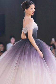 Buy Princess Ombre (Gradient) Ball Gown Off-Shoulder Prom Dress Long Evening Gown wear to a military ball, formal party, graduation or wedding that perfect for you and your unique personality. Quince Dresses, 15 Dresses, Ball Dresses, Pretty Dresses, Ball Gowns, Fashion Dresses, Ombre Gown, Ombre Prom Dresses, Quinceanera Dresses