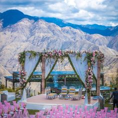 With Mountain Peaks Overlooking the gorgeous Floral Mandap, who wouldn't want to marry at a place like this.⠀ 📸 for Location @ JW Marriott Mussoorie Walnut Grove Resort & Spa⠀ Decor: Wedding Mandap, Desi Wedding, Wedding Stage, Wedding Events, Wedding Bells, Night Wedding Ceremony, Wedding Backdrops, Wedding Set, Church Wedding