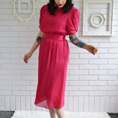 Vintage 1970s Vibrant Pink Dress with Ruffled by NevermoreVintage