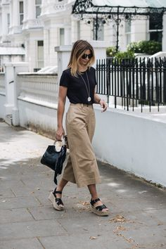 black basic t shirt, cropped wide leg camel trousers, wedge sandals, ring handle bag with black bandana, summer outfit, chic, street style