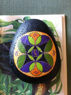 Hand Painted Mandala Painted on Black