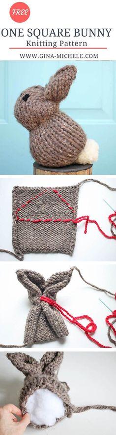 One Square Plush Bunny free knitting pattern! by bleu.