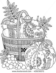 Coloring book for adult. Thanksgiving day. Basket of apples. --> For the most…
