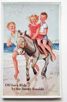 A s Children Ride Donkey on The Beach Sunny Seaside Postcard | eBay