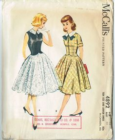 McCalls 4892: adorable teen dresses; plaid for school, lace for prom