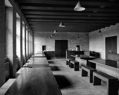 Dom Hans van der Laan's Abbey Church of St. Benedictusberg, Vaals, 1967. Refectory of the Abbey Sint Benedictus Berg, designed by van der Laan in five phases between 1956 and 1991.