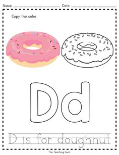 D is for Doughnut: Paper Pasting Activity - The Teaching Aunt Preschool Apple Activities, Letter Worksheets For Preschool, Preschool Letters, Free Preschool, Preschool Printables, Kindergarten Worksheets, Alphabet Worksheets, Nursery Worksheets, Free Printables