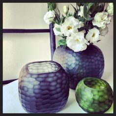Large and medium square cut vases in 'storm' and medium round cut in 'fern'. From $55