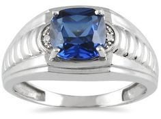 Men's Created Sapphire and Diamond Ring in 10K White Gold Szul. $289.00. 60 Day Complimentary Repair Service. Complimentary Packaging. 30 Day Money Back Guarantee