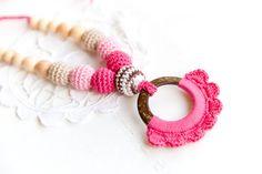 SALE Coconut ring nursing necklace   pink pendant  Sling от bysiki