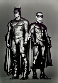 Test photos of Val Kilmer and Chris O'Donnell in Batman Forever, 1995