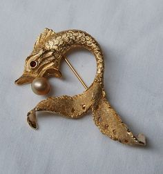 Stunning Vintage LEDO 1963 FISH BROOCH Pin by scottyscottage