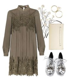 """""""Olive floral lace dress"""" by thestyleartisan ❤ liked on Polyvore featuring Universal Lighting and Decor, Jeffrey Campbell and Valentino"""