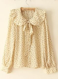 Large Flounce All-match Vintage Shirt Beige -SheIn(Sheinside) Mobile Site