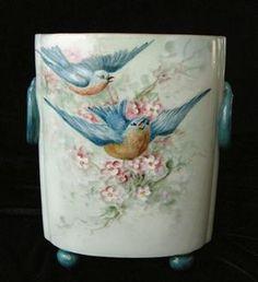 STUNNING Signed BLUE BIRDS & BLOSSOMS Limoges Cache Pot Painted Birds, Painted Pottery, Pottery Painting, Hand Painted, Porcelain Ceramics, China Porcelain, Victorian Living Room, Limoges China, Antique Dishes