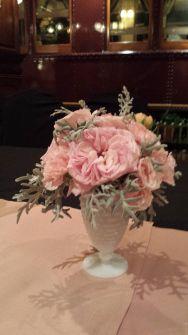 Milk glass with lush pink florals #EnchantedFloristLV