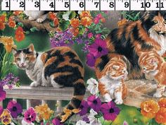 Cotton Fabric CATS Springs Creative Wild Wings Floral Print 1.5 yards free ship #SpringsCreativeProducts