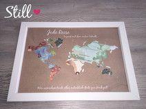 Geldgeschenk *Weltkarte* Vintage mit Rahmen