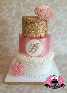 Cakes ROCK - Pearls, Pink & Gold Baby Shower cake