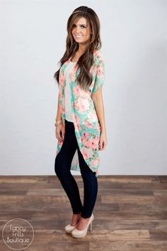 Floral Kimono and Striped Cold-Shoulder Top. Perfect Spring outfit ...