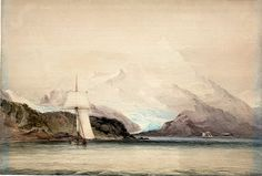 Conrad Martens, Mount Sarmiento, Tierra del Fuego, Showing 'Beagle' (PAF6229).   Martens worked on Beagle during years1833-34