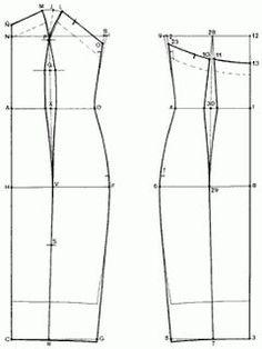 Blouse / Top / Dress: Dress Pattern / Patron designed by Diane Von Furstenberg. Motif Corset, Corset Sewing Pattern, Gown Pattern, Pattern Drafting, Dress Sewing Patterns, Sewing Patterns Free, Clothing Patterns, Sewing Hacks, Sewing Tutorials