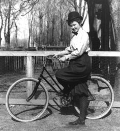 "1890s; women's bicycling costume - sleeves are leg-of-mutton and ""Turkish trousers"" (bloomers)"
