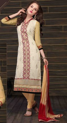 USD 36.06 Cream Cotton Pakistani Suit 44785