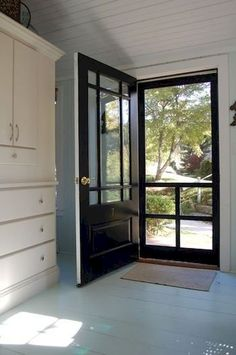 ideas house front door entrance home Black Screen Door, Painted Screen Doors, Metal Screen Doors, Front Door With Screen, Black Front Doors, Front Door Entrance, Glass Front Door, Entry Doors, Front Entry